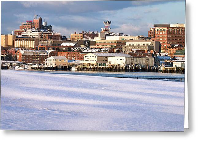 Portland Maine Winter Skyline Greeting Card by Eric Gendron