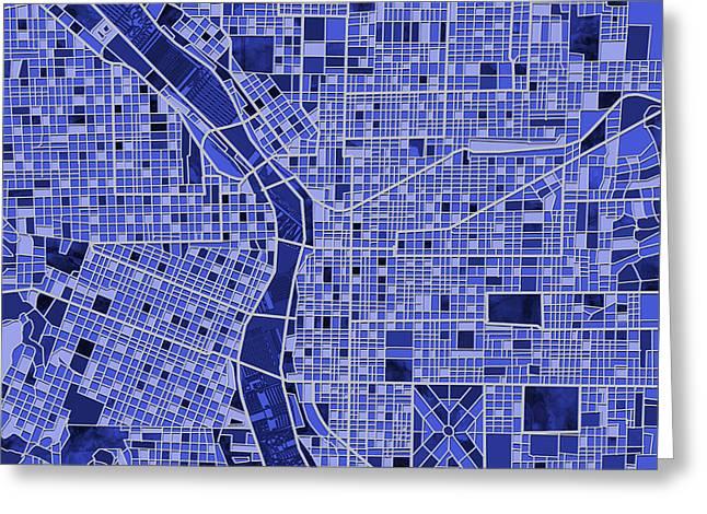 Portland Map Blue Greeting Card by Bekim Art