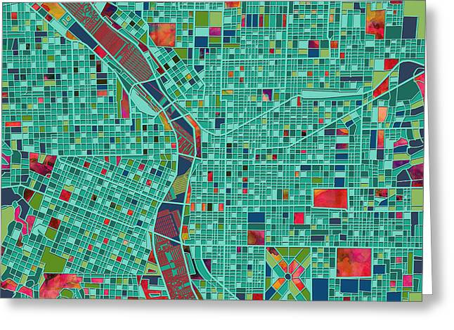 Abstract Map Greeting Cards - Portland Map  Greeting Card by MB Art factory