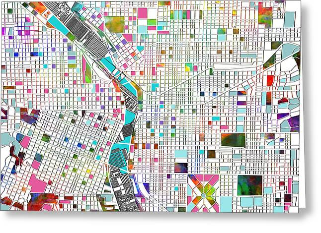 Abstract Map Greeting Cards - Portland Map White Greeting Card by MB Art factory