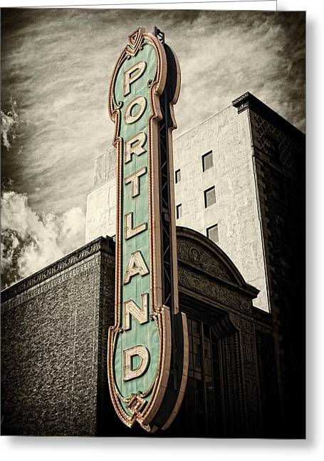 Theater Town Greeting Cards - Portland Marquis Greeting Card by Danielle Denham