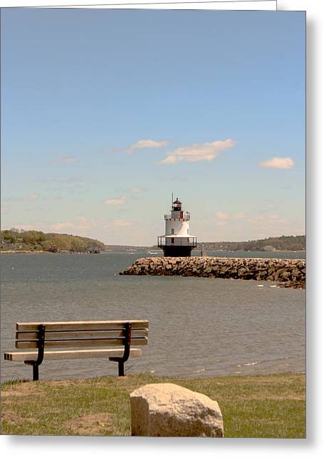 Maine Spring Greeting Cards - Portland Morning Greeting Card by Victory  Designs