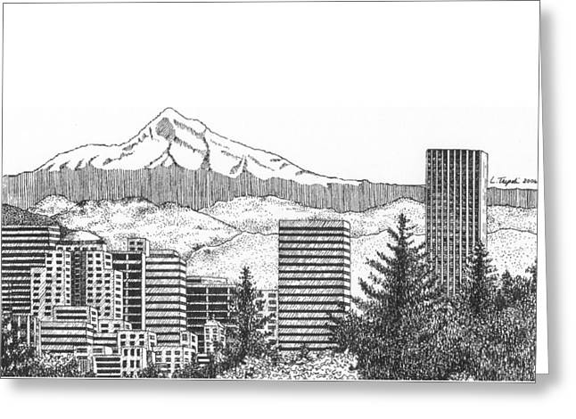 Mt Drawings Greeting Cards - Portland-Mt. Hood Greeting Card by Lawrence Tripoli
