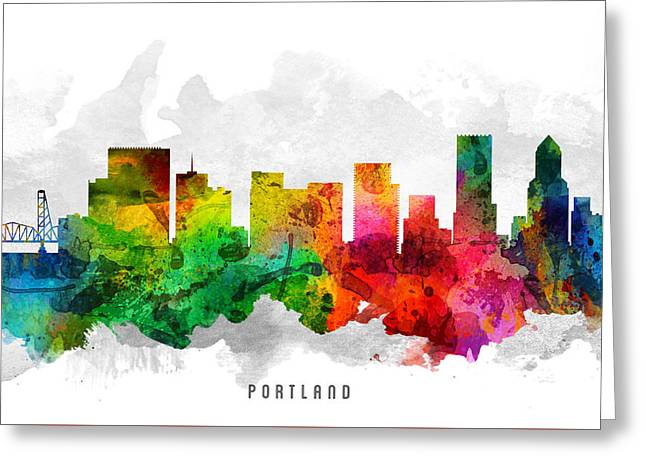 Portland Oregon Greeting Cards - Portland Oregon Cityscape 12 Greeting Card by Aged Pixel