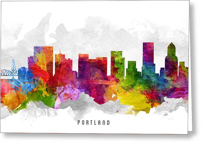 Portland Oregon Greeting Cards - Portland Oregon Cityscape 13 Greeting Card by Aged Pixel
