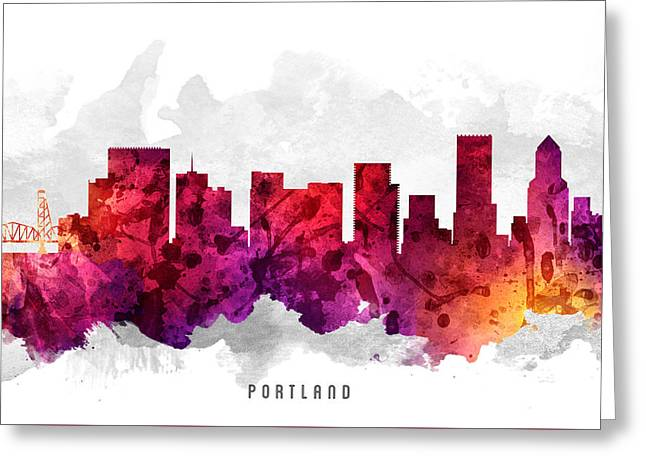 Portland Oregon Greeting Cards - Portland Oregon Cityscape 14 Greeting Card by Aged Pixel