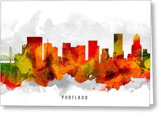 Portland Oregon Greeting Cards - Portland Oregon Cityscape 15 Greeting Card by Aged Pixel