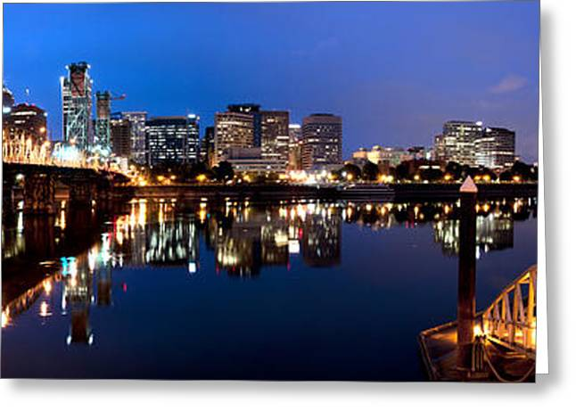 Brian Bonham Greeting Cards - Portland Oregon Skyline Greeting Card by Brian Bonham