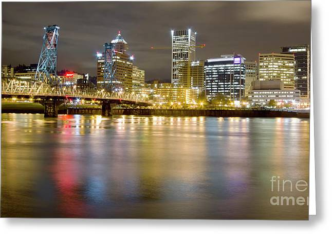 City Lights Greeting Cards - Portland Oregon Skyline Reflections Greeting Card by Dustin K Ryan