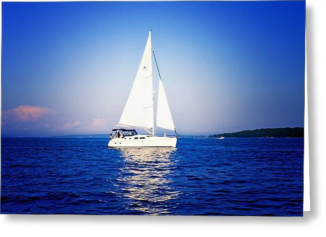 Coastal Maine Greeting Cards - Portland Sail Greeting Card by Kristy Viera