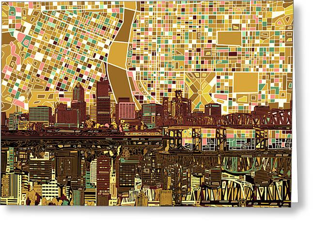 Abstract Digital Greeting Cards - Portland Skyline Abstract 9 Greeting Card by MB Art factory