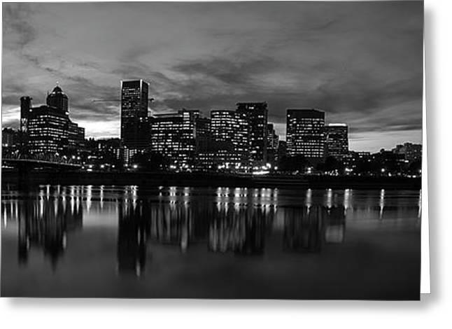 Brian Bonham Greeting Cards - Portland Skyline Black and White Greeting Card by Brian Bonham