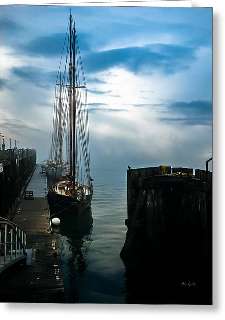 Foggy Ocean Greeting Cards - Portland Sunrise Greeting Card by Bob Orsillo