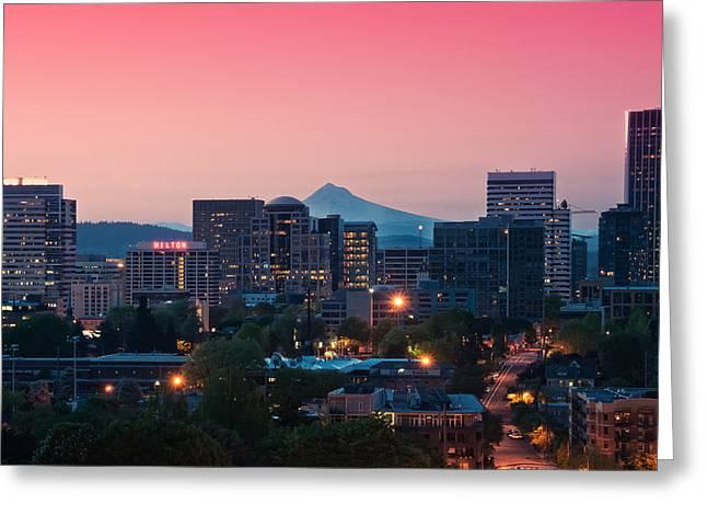 Portland Sunrise Greeting Card by Brian Bonham