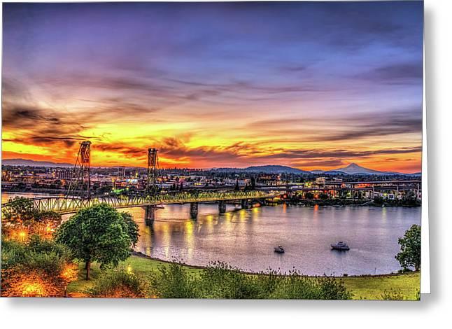 Portland Sunrise - Oregon Greeting Card by Spencer McDonald