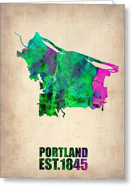 Portland Greeting Cards - Portland Watercolor Map Greeting Card by Naxart Studio