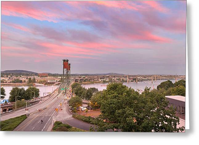 4th July Greeting Cards - Portland Waterfront Hawthorne Bridge at Sunset Greeting Card by Jpldesigns