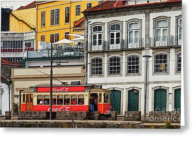 Doorway Digital Greeting Cards - Porto Coca Cola Tram - digital drawing Greeting Card by Mary Machare