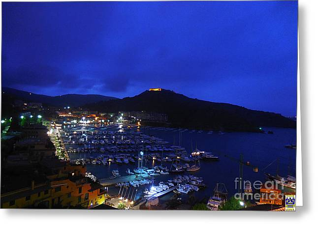 Boats In Harbor Greeting Cards - Porto Ercole at Nightfall Greeting Card by Casavecchia Photo Art