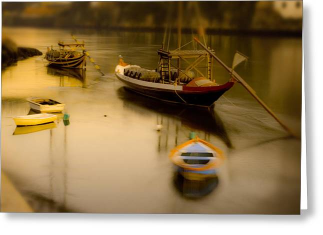 Water Vessels Greeting Cards - Porto Rabelo Boats Greeting Card by Antonio Costa