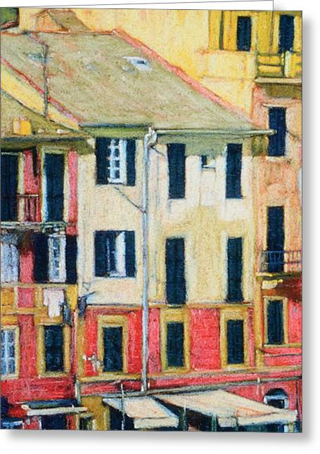 Italian Landscape Pastels Greeting Cards - Portofino I Greeting Card by Alice Bach Hyde