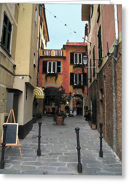 Portofino Italy Mixed Media Greeting Cards - Portofino Alley Greeting Card by Paul Barlo