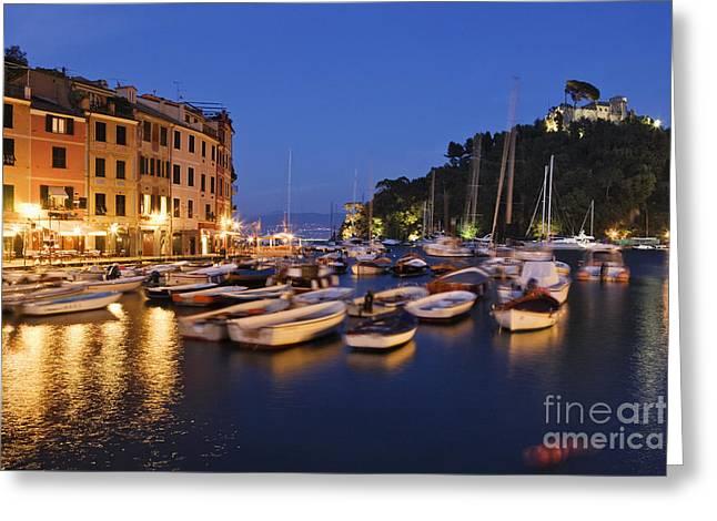 Portofino Italy Greeting Cards - Portofino at Dusk Greeting Card by Jeremy Woodhouse
