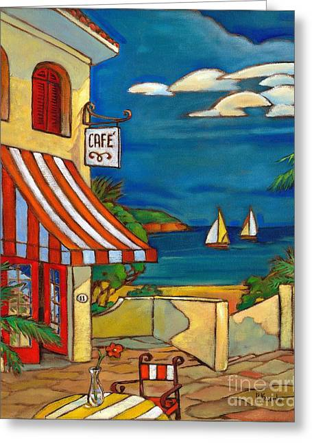 Tropical Beach Greeting Cards - Portofino Cafe Greeting Card by Paul Brent