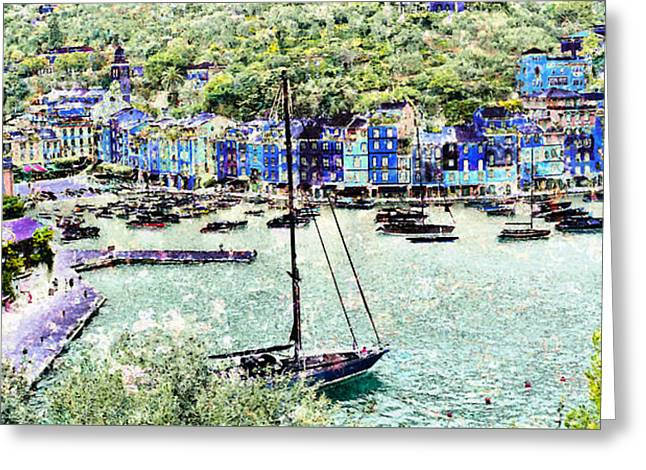 Portofino Italy Mixed Media Greeting Cards - Portofino Greeting Card by Frank Tschakert