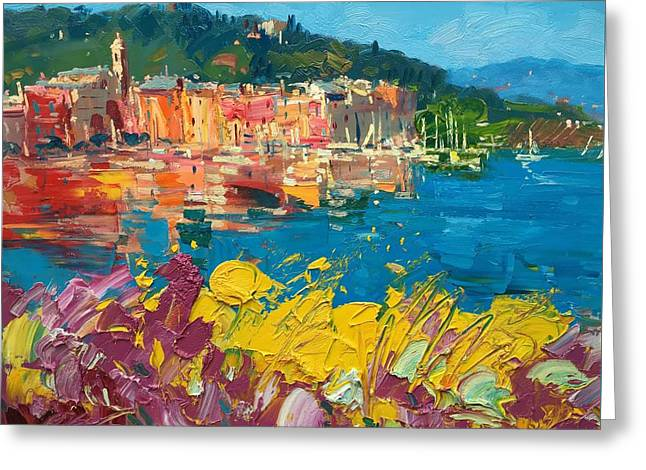Portofino Harbor With Flowers Greeting Card by Agostino Veroni