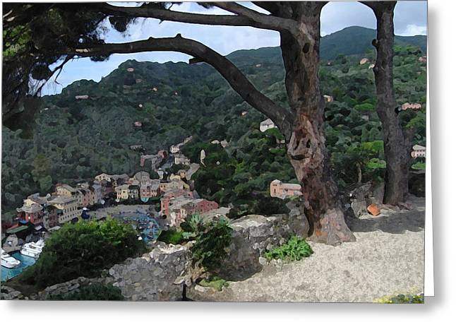 Portofino Italy Mixed Media Greeting Cards - Portofino Patio Greeting Card by Paul Barlo