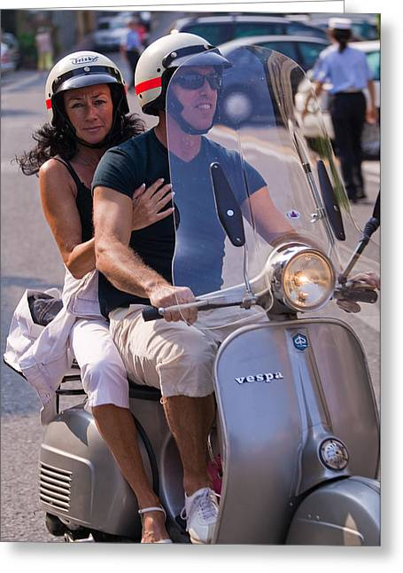 Portofino Italy Photographs Greeting Cards - Portofino scooter couple Greeting Card by Neil Buchan-Grant