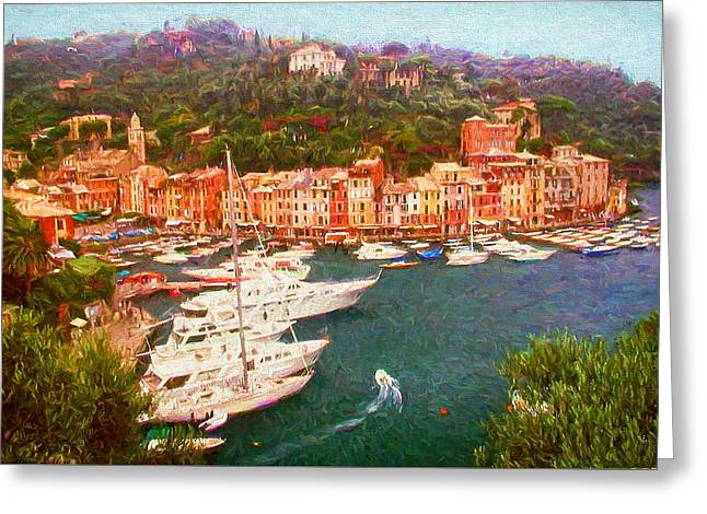 Portofino Italy Digital Greeting Cards - Portofino View from Above Greeting Card by Mitchell R Grosky