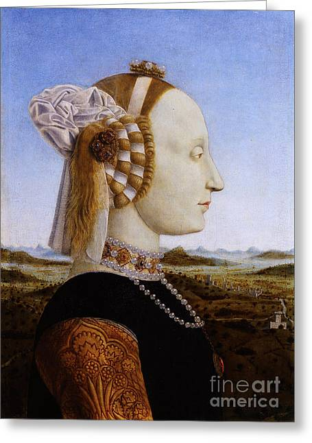Duchess Greeting Cards - Portraif of Battista Sforza Duchess of Urbino Greeting Card by Celestial Images