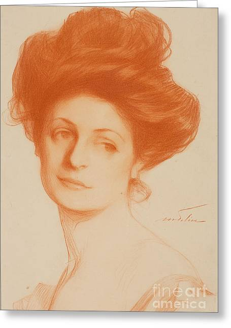 1907 Greeting Cards - Portrait A Lady Greeting Card by MotionAge Designs