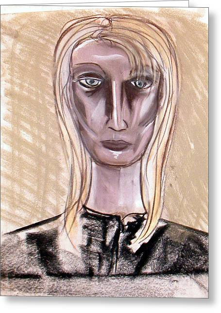 Adam Pastels Greeting Cards - Portrait Greeting Card by Amy Marie Adams