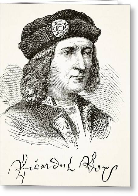 Third Age Greeting Cards - Portrait And Signature Of King Richard Greeting Card by Ken Welsh