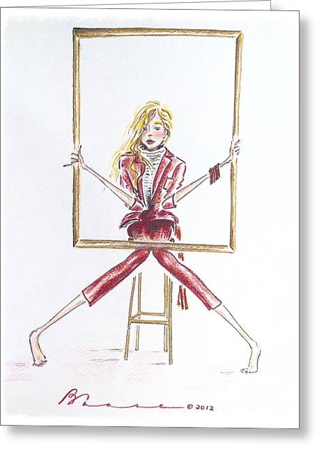 Quirky Drawings Greeting Cards - Portrait Greeting Card by Barbara Chase