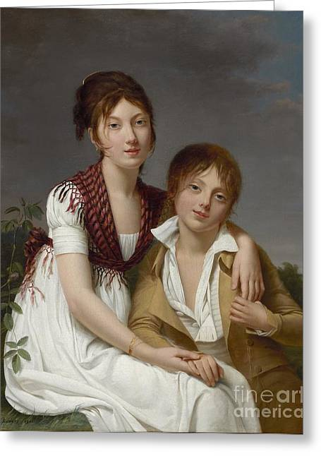 Person Greeting Cards - Portrait dAmelie-Justine et de Charles-Edouard Pontois Greeting Card by Adele ROMANY