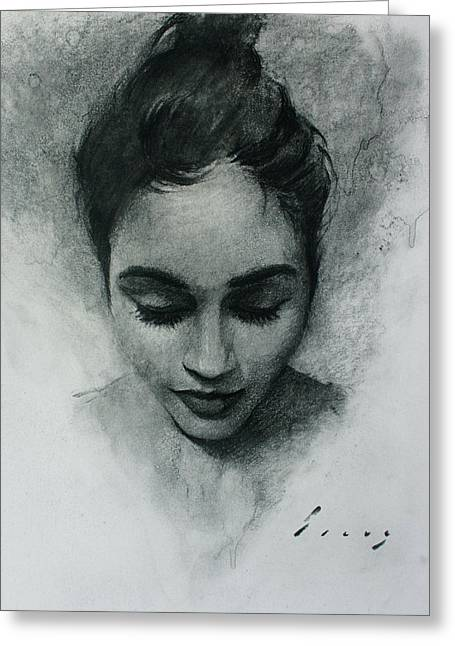 Powder Drawings Greeting Cards - Portrait I Greeting Card by Kavinda Silva