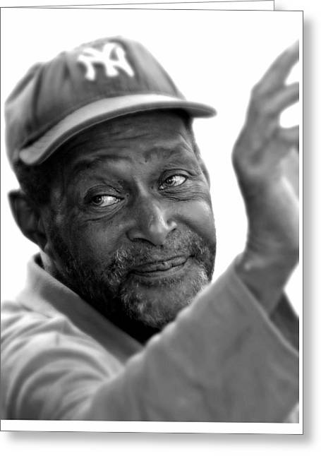 Portrait Male With Yankee Cap Greeting Card by Diana Angstadt