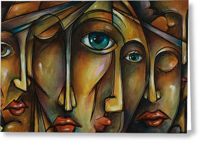 Outsider Art Paintings Greeting Cards - Portrait Greeting Card by Michael Lang