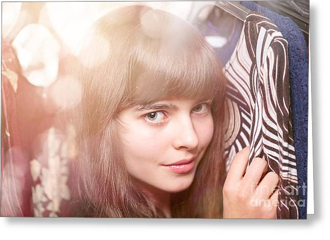 Woman In A Dress Greeting Cards - Portrait Of A Beautiful Teenage Girl And Her Wardrobe Greeting Card by Armin Staudt