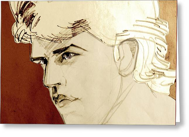 Portrait Sketch Of A Blond Adonis Greeting Card by Greta Corens