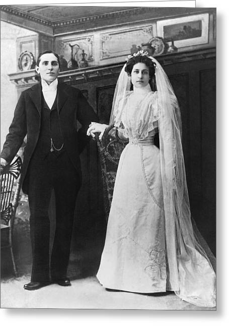 Portrait Of A Bride And Groom Greeting Card by Underwood Archives
