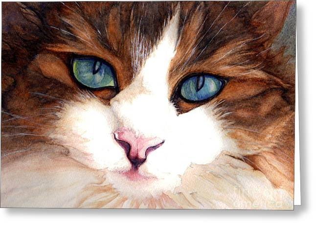 Portrait of a cat Greeting Card by Janine Riley