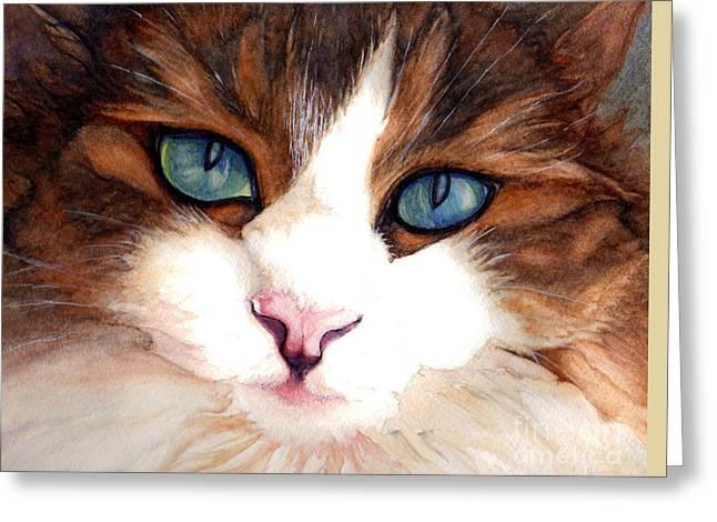 Close Up Paintings Greeting Cards - Portrait of a cat Greeting Card by Janine Riley