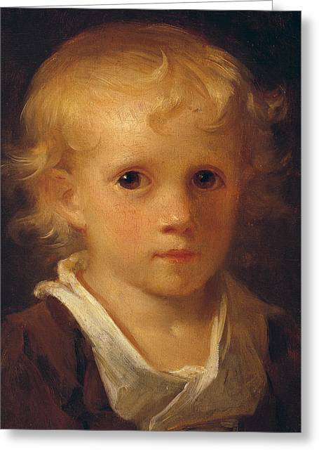 Collar Greeting Cards - Portrait of a Child Greeting Card by Jean-Honore Fragonard