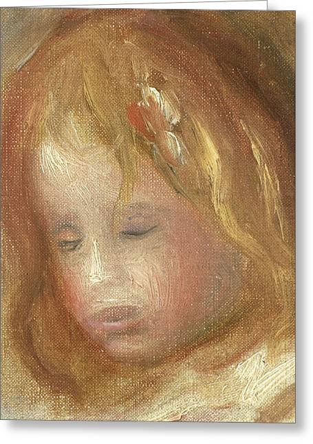 Portrait Of A Child Greeting Card by Pierre Auguste Renoir