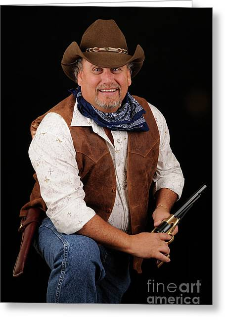 Cowboy Outfit Greeting Cards - Portrait of a Cowboy Greeting Card by Timothy OLeary